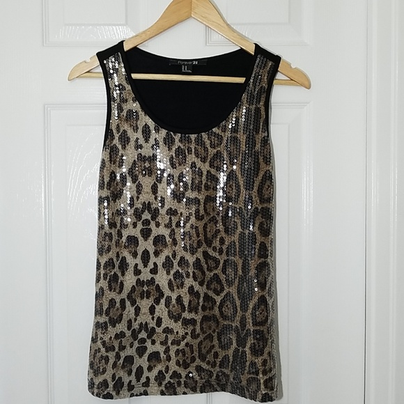 Forever 21 Tops - Forever 21 sequined leopard print tank top
